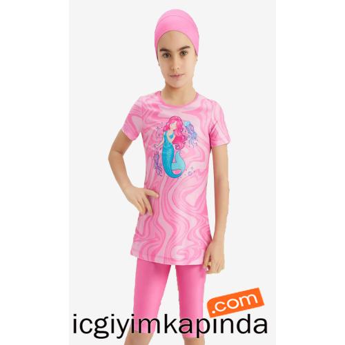 5151 Adasea Kız Çocuk Taytlı Mayo Pembe