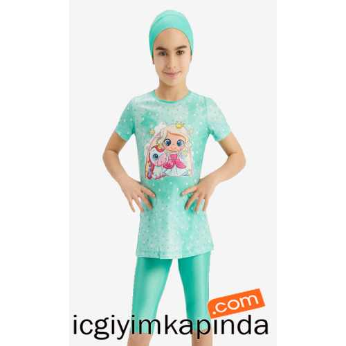 5152 Adasea Kız Çocuk Taytlı Mayo Pembe