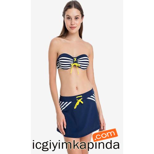 1080 Dagi Straplez Etekli Bikini Lacivert